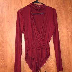 Red Surplice Choker Bodysuit